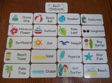 20 Laminated Beach themed Flash Cards.  Preschool Picture
