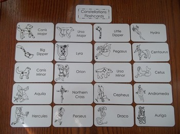 20 Laminated Constellations Flash Cards.   Astronomy Pictu