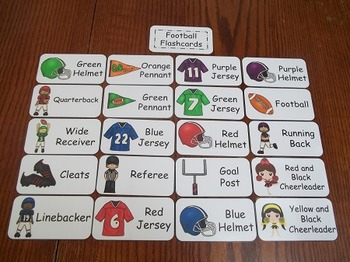 20 Laminated Footbal themed Flash Cards.  Preschool Pictur