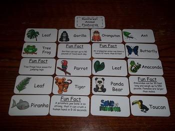 20 Laminated Rainforest Animal themed Flash Cards.  Presch