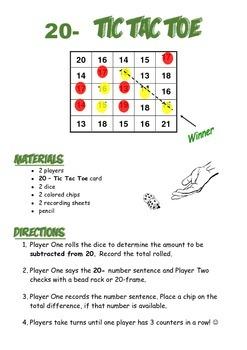 20 Minus Subtraction Tic Tac Toe