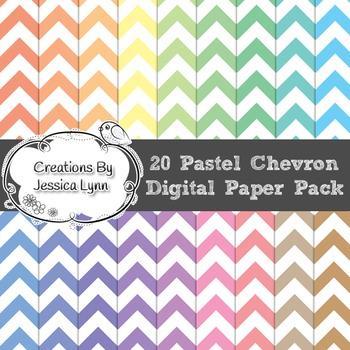 20 Pastel Chevron 12 x 12 Digital Paper Pack