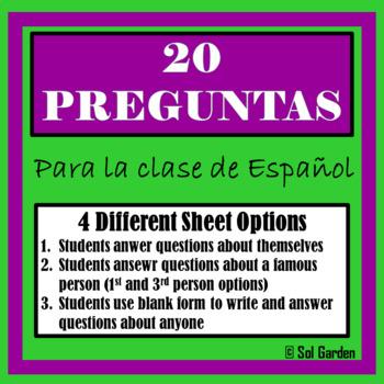 20 Preguntas - 20 Questions- Great Review of Question Words