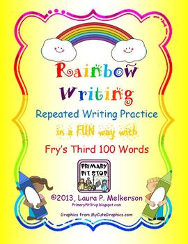 """20 """"Rainbow Writing"""" Practice Pages for Fry's THIRD 100 Si"""