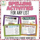 20 Spelling Activity Task Cards and Print and Go Student W
