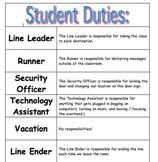 20 Student Duties / Classroom Helpers Chart