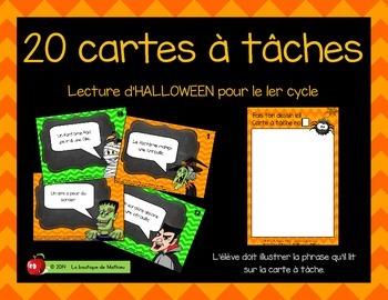 20 cartes à tâches de lecture (Halloween – 1er cycle)