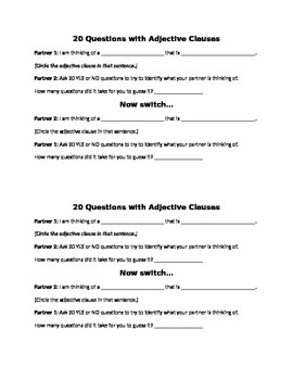20 questions with Adjective Clauses
