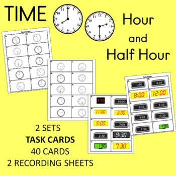 time to the hour and half hour task cards