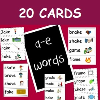 20 word cards with a-e sound