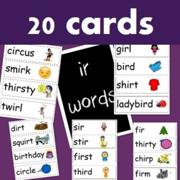 20 word cards with the 'ir' sound