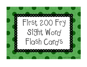 200 Fry Flash Cards - Green