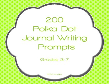 200 Polka Dot Journal Writing Prompt Task Cards