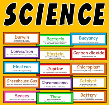 200 SCIENCE FLASHCARDS - DISPLAY KEY WORDS BIOLOGY PHYSICS