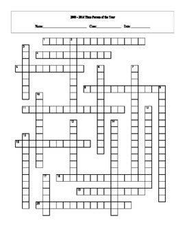 2009 - 2014 Time Person of the Year Crossword with Key