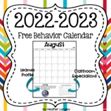 2015-2016 School Year Calendar with Behavior Management Tool