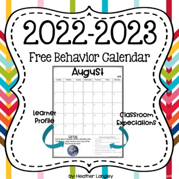 2016-2017 School Year Calendar with Behavior Management Tool