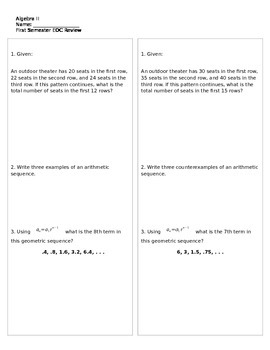 2013-2014 Algebra II End of Course Exam Study Guide