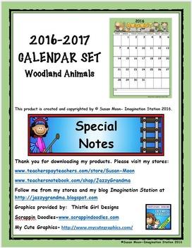 2016-2017 Calendar Set Woodland Animals Theme
