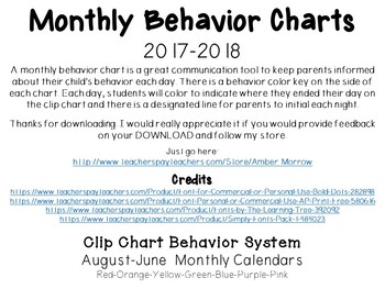 Clip Chart Behavior Calendars: School Year Set