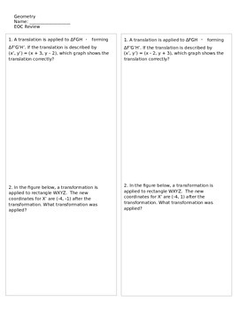 2013-2014 Geometry End of Course Exam Study Guide