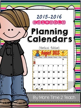 2015-2016 EDITABLE Monthly Planning Calendar {color & blac