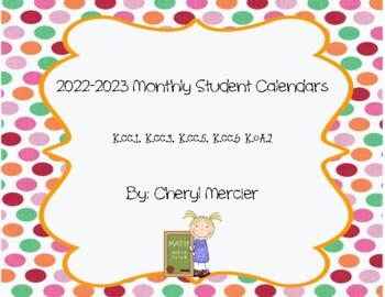 2015-2016 Monthly Student Calendars (Kindergarten Math Com