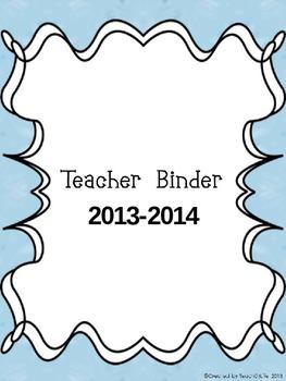 2013-2014 Teacher Binder- Blue Owl theme