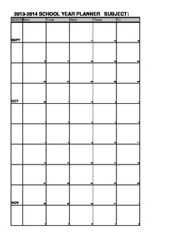 2013-2014 Weekly Planner Year at Glance 4 page