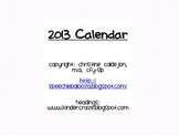 2013 Calendar with holidays & notes