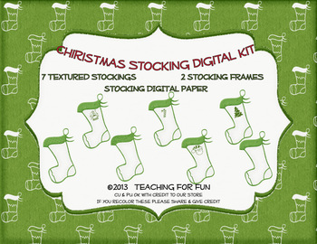 2013 Christmas Stocking Clip Art, Frames, and Papers
