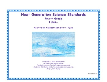 4th Fourth Grade I Can Printable Next Generation Science S
