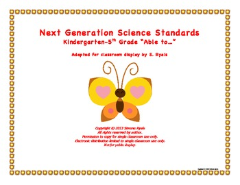 """NGSS Elementary K-5th """"Able to"""" Next Generation Science St"""