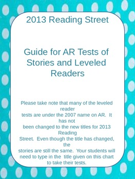 2013 Reading Street, Guide for AR tests