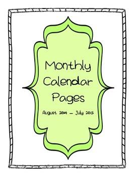 2014-15 Calendar Pages