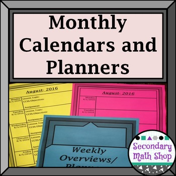 2016 - 17 Monthly Calendar/Weekly Planning (Blue/Gray)