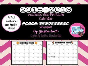 2015-2016 Academic Year Printable Calendar (White Backgrou