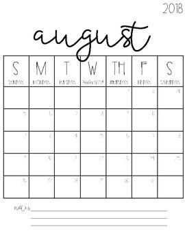 2016-2017 Blank Calendars {FREEBIE!}