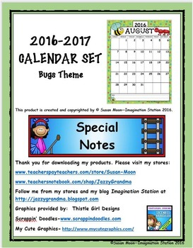 2016-2017 Calendar Set Bug Theme