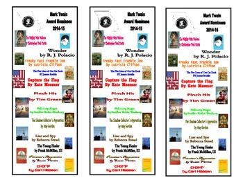 2014-2015 Missouri Mark Twain Award Bookmarks