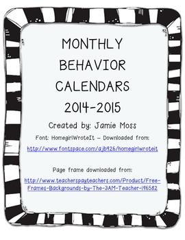 2014-2015 Monthly Behavior Calendars