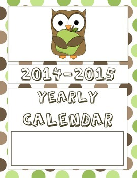 2014-2015 Monthly Calendar with Holidays