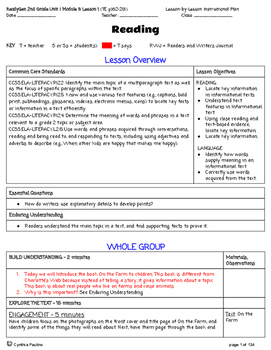 2014-2015 ReadyGen Unit 1 Module B Lesson Plans (Grade 2)