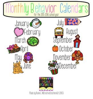 2015-2016 School Monthly Behavior Calendars