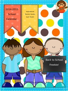 2014-2015 School Year Calendar Freebie