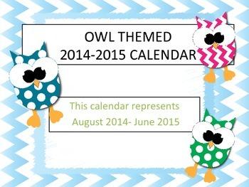 Owl Themed 2014-2015 School Calendar