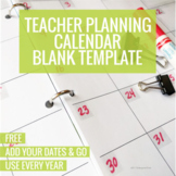 Teacher Planning Calendar Blank Template