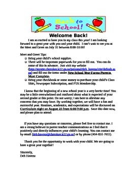 2014-2015 Welcome Back Letter