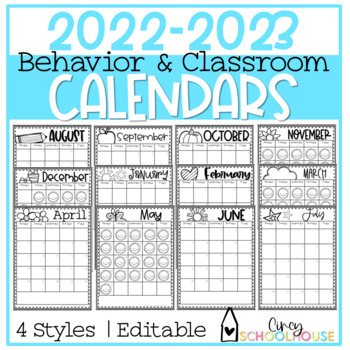 2016-2017 Yearly Behavior Calendars  *UPDATED*