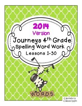 Fourth Grade 4th Gr. Journeys 2014 Spelling Word Work